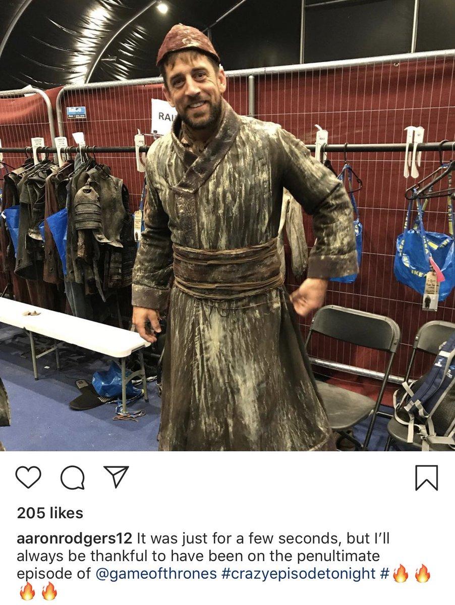 """La estrella de la NFL, Aaron Rodgers, apareció en el quinto capítulo de la octava temporada de """"Game of Thrones"""""""